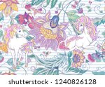 seamless pattern with stylized... | Shutterstock .eps vector #1240826128