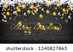christmas balls with gold stars ...   Shutterstock . vector #1240827865