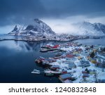 aerial view of reine in... | Shutterstock . vector #1240832848