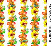 seamless pattern with tropical... | Shutterstock . vector #1240833052