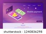 isometric online payment online ... | Shutterstock .eps vector #1240836298