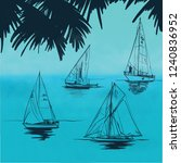 sailing yacht sketch vector of... | Shutterstock .eps vector #1240836952