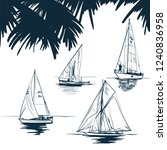 sailing yacht sketch vector of... | Shutterstock .eps vector #1240836958