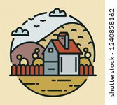 trendy logotype with farmhouse... | Shutterstock .eps vector #1240858162
