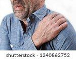 studio shot of man suffering...   Shutterstock . vector #1240862752