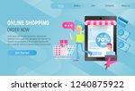 online shopping landing page. e ... | Shutterstock .eps vector #1240875922