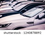 frosty window of vehicle parked ... | Shutterstock . vector #1240878892