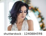 beautiful young woman at... | Shutterstock . vector #1240884598
