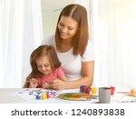 cute little girl and her... | Shutterstock . vector #1240893838