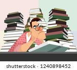 vector illustration of a young... | Shutterstock .eps vector #1240898452