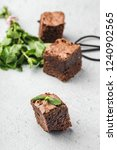 chocolate brownie with mint on...   Shutterstock . vector #1240902565