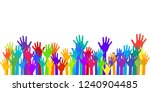 colorful raised hands group art ... | Shutterstock .eps vector #1240904485
