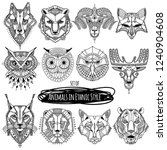 set of 12 drawings of wild... | Shutterstock .eps vector #1240904608
