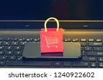 ecommerce concept.   red paper... | Shutterstock . vector #1240922602