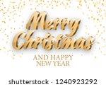 merry christmas gold 3d... | Shutterstock .eps vector #1240923292