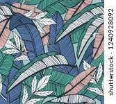 seamless tropical pattern with... | Shutterstock .eps vector #1240928092