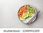 tasty appetizing poke bowl... | Shutterstock . vector #1240941205