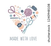 made with love. hobby tools in... | Shutterstock .eps vector #1240948108