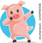 funny dabbing pig vector... | Shutterstock .eps vector #1240950538
