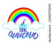 love unicorn unique lettering.... | Shutterstock .eps vector #1240970242