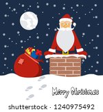 cartoon funny santa claus on... | Shutterstock .eps vector #1240975492