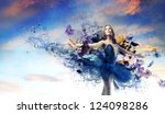 ballerina with a blue painted... | Shutterstock . vector #124098286