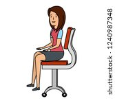 businesswoman sitting in office ... | Shutterstock .eps vector #1240987348
