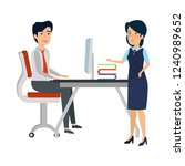 business couple in the workplace   Shutterstock .eps vector #1240989652