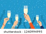 people holding champagne...   Shutterstock .eps vector #1240994995