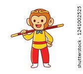 sun wukong  or monkey king ... | Shutterstock .eps vector #1241002525