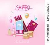 shopping online on website or... | Shutterstock .eps vector #1241020378