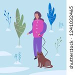 girl walking a dog in winter... | Shutterstock . vector #1241032465