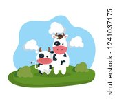 cute cows family in the camp | Shutterstock .eps vector #1241037175