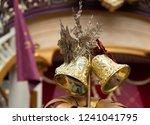 luxury golden christmas bells | Shutterstock . vector #1241041795