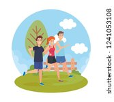 athletic people running in the... | Shutterstock .eps vector #1241053108