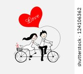 doodle lovers  a boy and a girl ... | Shutterstock .eps vector #124106362