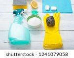 dishwashing products on white... | Shutterstock . vector #1241079058