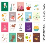 postcards with various desserts ...   Shutterstock .eps vector #1241087602