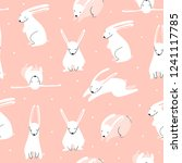 cute rabbits in various poses.... | Shutterstock .eps vector #1241117785