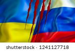 ukraine and russia flags with... | Shutterstock . vector #1241127718