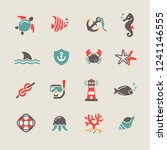 nautical icons set | Shutterstock .eps vector #1241146555