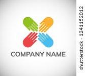 hand care logo template. vector ... | Shutterstock .eps vector #1241152012