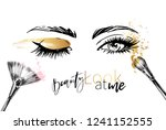 beautiful woman eyes with gold... | Shutterstock .eps vector #1241152555