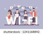 people using internet on modern ... | Shutterstock .eps vector #1241168842