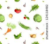 fresh vegetables seamless...   Shutterstock .eps vector #124118482