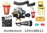 movie elements set. vintage... | Shutterstock .eps vector #1241188612