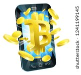bitcoin sign symbol and gold...   Shutterstock .eps vector #1241199145