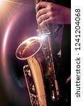 jazz saxophone player in... | Shutterstock . vector #1241204068