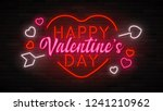 happy valentine's day neon... | Shutterstock .eps vector #1241210962