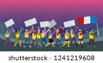 protesting people in yellow... | Shutterstock .eps vector #1241219608